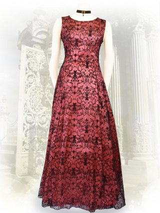 ゴシック*ピンク*フロッキー刺繍ノースリーブロングドレス7502 演奏会ステージドレス