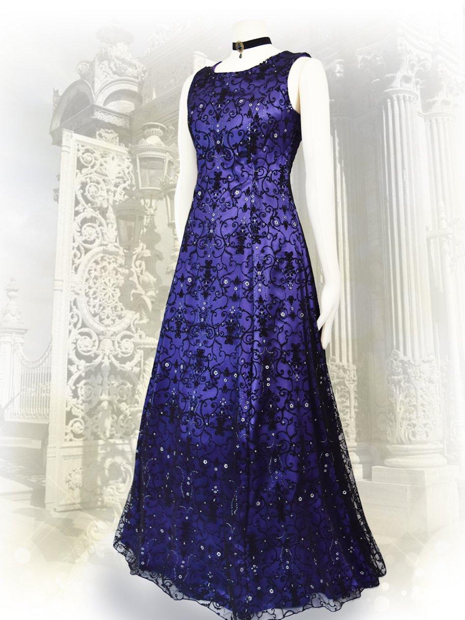 baf5f8f9047ab ゴシック*パープル*フロッキー刺繍ノースリーブロングドレス7502 演奏会ステージドレス. 型番:  7502. 販売価格:  8