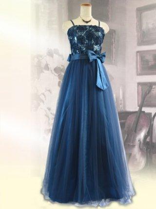 コード刺繍・チュールブルー*ロングドレス9041/ 演奏会 ラミューズドレス通販