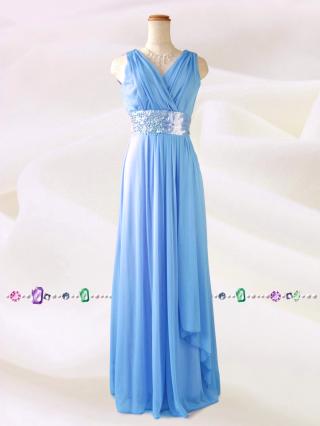 水の色彩〜 ライトブルー ロングドレス/ 演奏会 ラミューズドレス通販