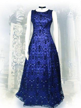 ゴシック*ブルー*フロッキー刺繍ノースリーブロングドレス7502 演奏会ステージドレス