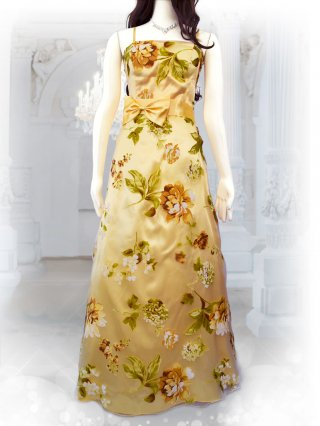 【ゆったり】プリンセスフローラルドレス・イエローの ロングドレス 2483
