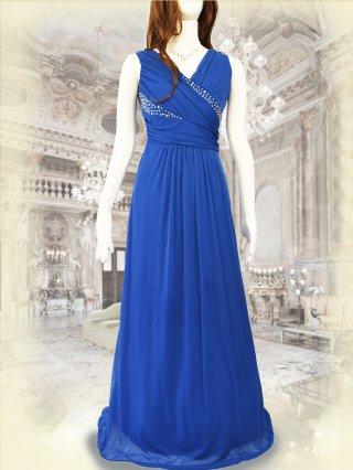 流線ビーズ ブルー*ロングドレス 6857 / 演奏会 ラミューズドレス通販