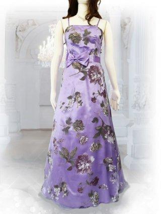 【ゆったり】プリンセスフローラルドレス・パープルの ロングドレス 2483