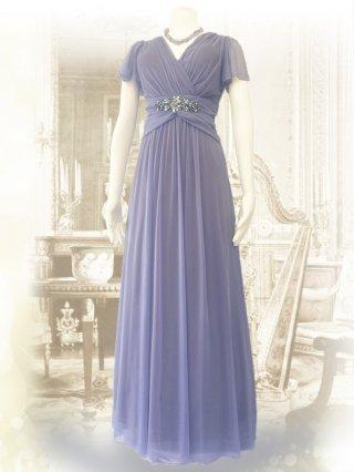 ラベンダー・グレイ*1378 お袖付き女神ラインロングドレス/演奏会ステージドレス
