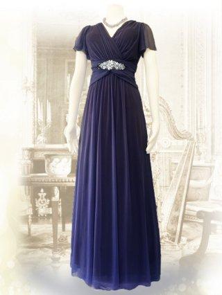 お袖付き女神ラインロングドレス・ネイビー*1378 /演奏会ステージドレス