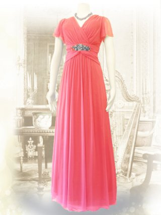 お袖付き女神ラインロングドレス・ピンク*1378 /演奏会ステージドレス