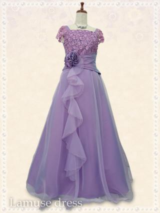【Lサイズ】舞踏会ロングドレス・ラベンダー袖付き*8041/演奏会 ラミューズドレス通販