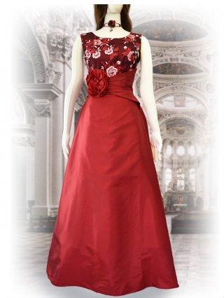 【L】レース刺繍*レッドロングドレス*ノースリーブ 演奏会ステージドレス