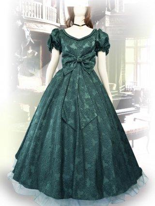 プリンセスリボン*グリーンロングドレス 7420*リサイタル*オペラ*声楽
