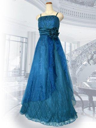 Jolie・ブルー レース ロングドレス 3253  演奏会 ラミューズドレス通販
