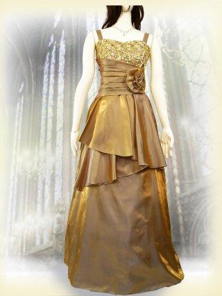 肩が凝らない着やせドレス*ゴールド*3335 演奏会 ラミューズドレス通販