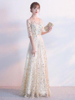 【S】リーフ刺繍の清楚なロングドレス*ベージュ*編上げ*演奏会ステージドレス