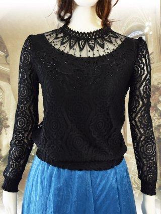 【ゆったり】パンツにもスカートにも◎豪華ブラック*ブラウス演奏会衣装