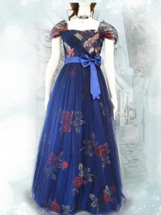 透かし薔薇柄*声楽家*ネイビー袖付きドレス3258/ 演奏会 ラミューズドレス通販
