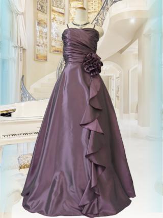 【M・L】シャーリングハート・パープル ロングドレス 2707 ステージドレス ラミューズ