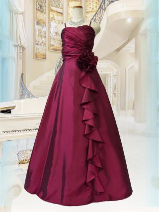 【M・L】シャーリングハート・レッド ロングドレス 2707 ステージドレス ラミューズ