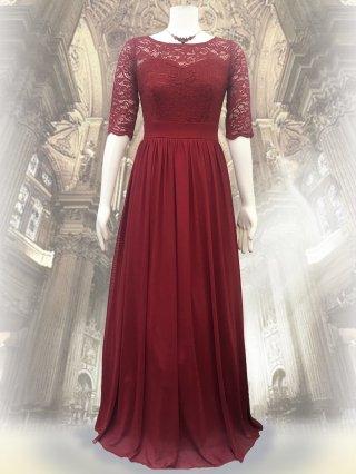 レーストップ*シンプルドレス*レッド*8096 お袖付き女神ラインロングドレス/演奏会ステージドレス