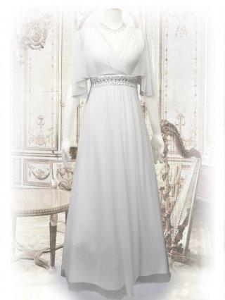 ハンギングスリーブ・ホワイト  お袖付ロングドレス1463/演奏会ステージ衣装