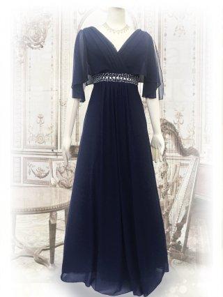 ハンギングスリーブ・ネイビー お袖付ロングドレス1463/演奏会ステージ衣装