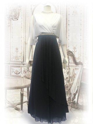 ハンギングスリーブ・ホワイト×ブラック お袖付ロングドレス1463/演奏会ステージ衣装