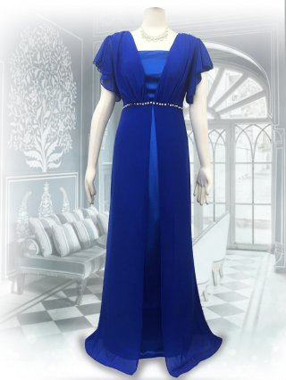 【M/L】パールフロント*ベアトップ&お袖付ロングドレス*ロイヤルブルー/演奏会ステージ衣装8095