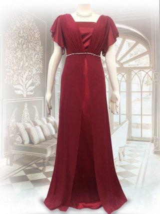 【M/L】パールフロント*ベアトップ&お袖付ロングドレス*レッド/演奏会ステージ衣装8095