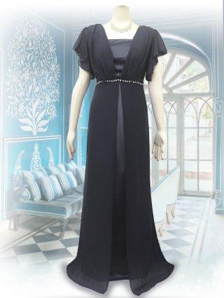 【M/L】パールフロント*ベアトップ&お袖付ロングドレス*ブラック/演奏会ステージ衣装8095