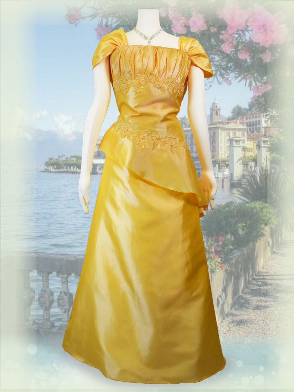e48b21650846b  3L ヨーク・イエローお袖付きロングドレス*2429 演奏会 ラミューズドレス