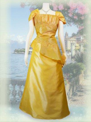 【3L】ヨーク・イエローお袖付きロングドレス*2429/演奏会 ラミューズドレス