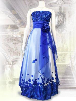 【L/LL】フラワープリントロングドレス*ブルー×ホワイト/演奏会 ラミューズドレス通販