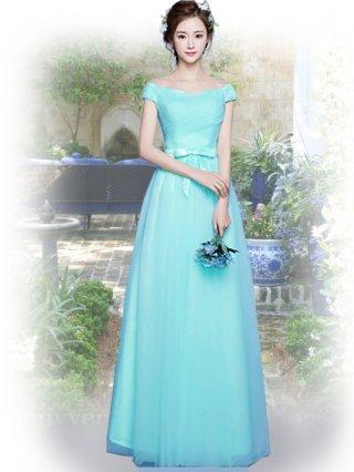 ブルーグリーン*オフショルダーロングドレス 111 演奏会ステージドレス