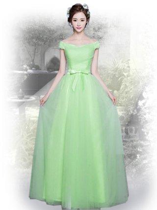 ライトグリーン*オフショルダーロングドレス 111 演奏会ステージドレス