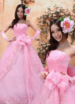 リボンベアトップ*ピンクロングドレス*付属ワイヤーパニエ/ 演奏会 ラミューズドレス通販