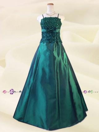 イタリアン・グリーンのロングドレス2675/ 演奏会 ラミューズドレス通販販