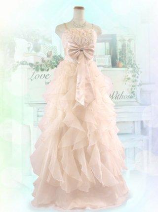 プレミアフリル・ベージュロングドレス 9507演奏会ステージドレス