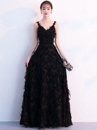 ブラック*スプリングロングドレス 演奏会ロングドレス
