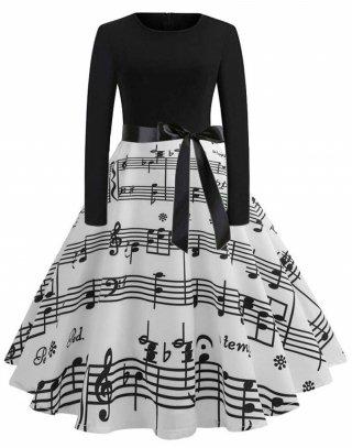 【パニエ付きで便利♪】長袖楽譜プリントワンピースドレス♪演奏会・発表会