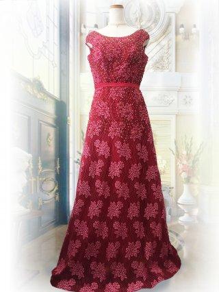 ROSEワインレッド*ビーズ刺繍*ロングドレス2411演奏会 ラミューズドレス通販