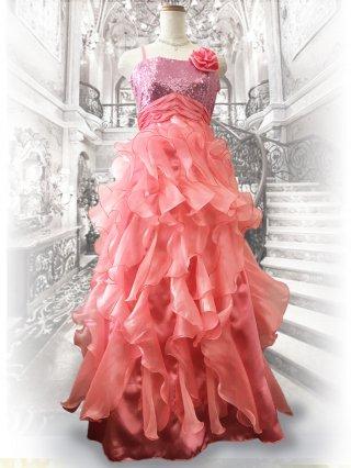 【ゆったり】フリル*ピンクロングドレス 2421 演奏会・ステージ衣装