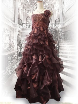【ゆったり】フリル*モカブラウンロングドレス 2421 演奏会・ステージ衣装