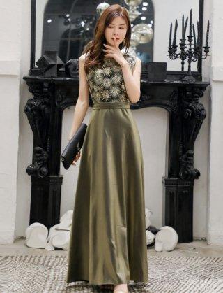 【L・XXL】オリーブグリーンロングドレス*ラミューズドレス通販