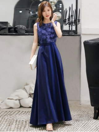 【M,L,4L】インディゴブルーロングドレス*ラミューズドレス通販