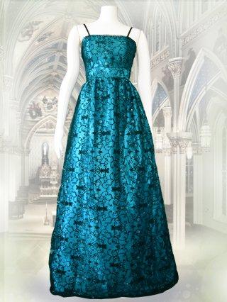 ロマネスク柄のロングドレス グリーン 8736/ 演奏会 ラミューズドレス通販