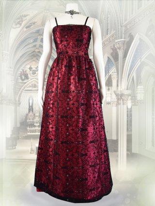 ロマネスク柄のロングドレス*ストロベリーレッド 8736/ 演奏会 ラミューズドレス通販