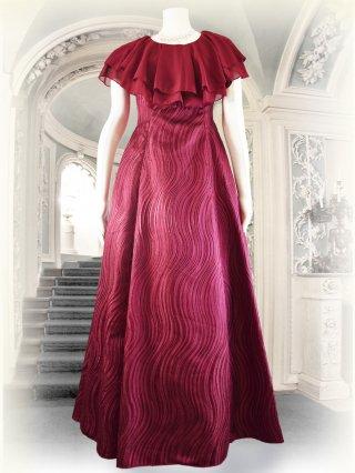 【M・L】ウェーブ刺繍フリルワイン*ロングドレス2401演奏会 ラミューズドレス通販