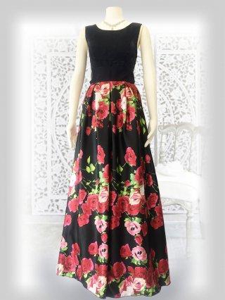 ローズブラック*ノースリーブ*プリントスカート 演奏会ステージドレス