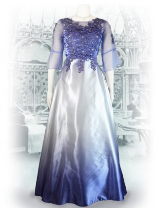 【L】グラデーションカラー*ラベンダー*フローラル刺繍ロングドレス 2393 演奏会ステージドレス