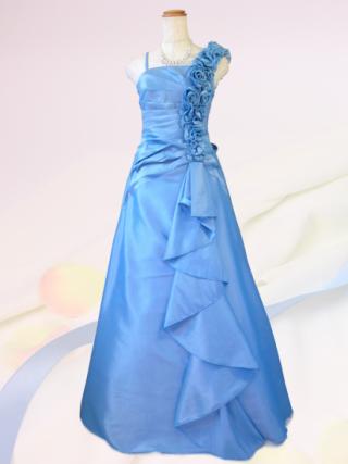 薔薇とフリル ライトブルーのロングドレス 2700/ 演奏会 ラミューズドレス通販