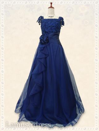 【Lサイズ】舞踏会ロングドレス・ブルー袖付き*8041/演奏会 ラミューズドレス通販